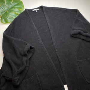 Oak + Fort Black Chunky Knit Cardigan